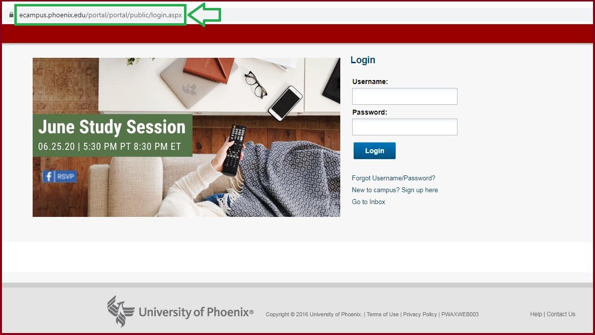 university of phoenix ecampus login student